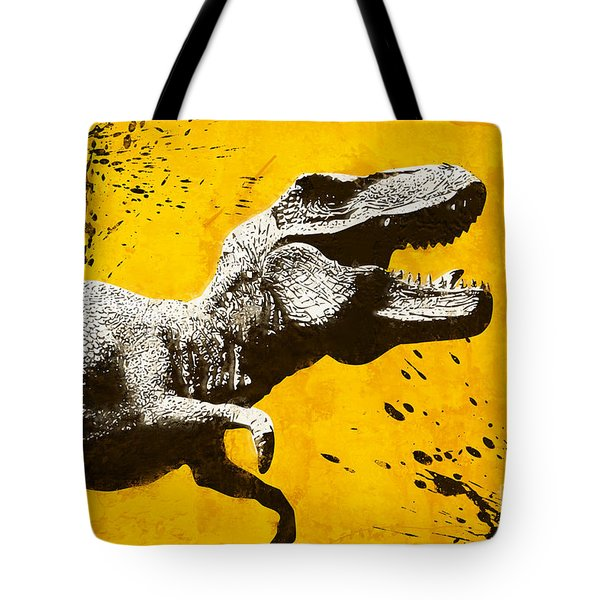 Stencil Trex Tote Bag by Pixel Chimp