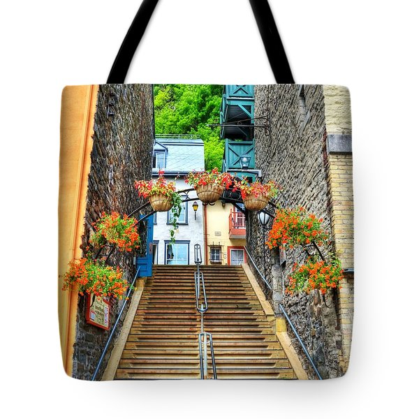 Steps Of Old Quebec Tote Bag