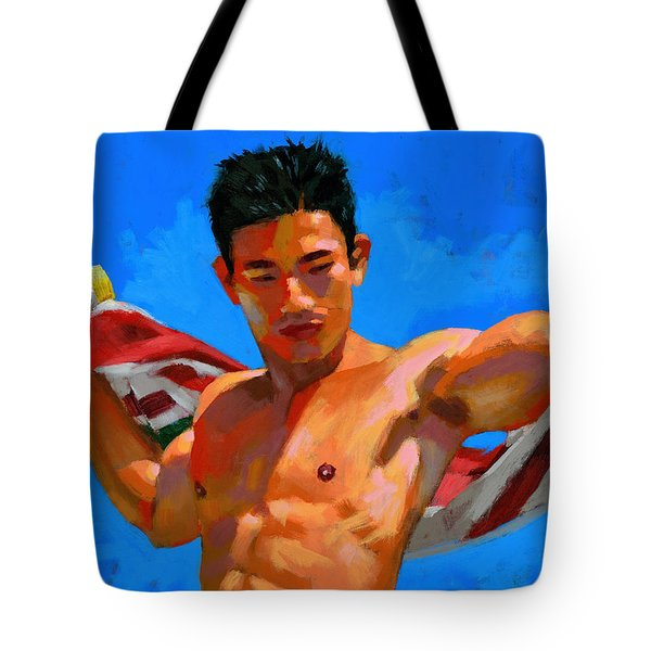 Chinese Bodybuilder With Towel Tote Bag