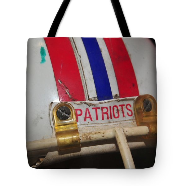 Steve Nelson's Game Worn Helmet Tote Bag by Mike Martin