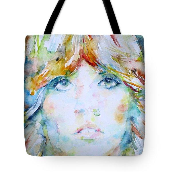 Stevie Nicks - Watercolor Portrait Tote Bag by Fabrizio Cassetta