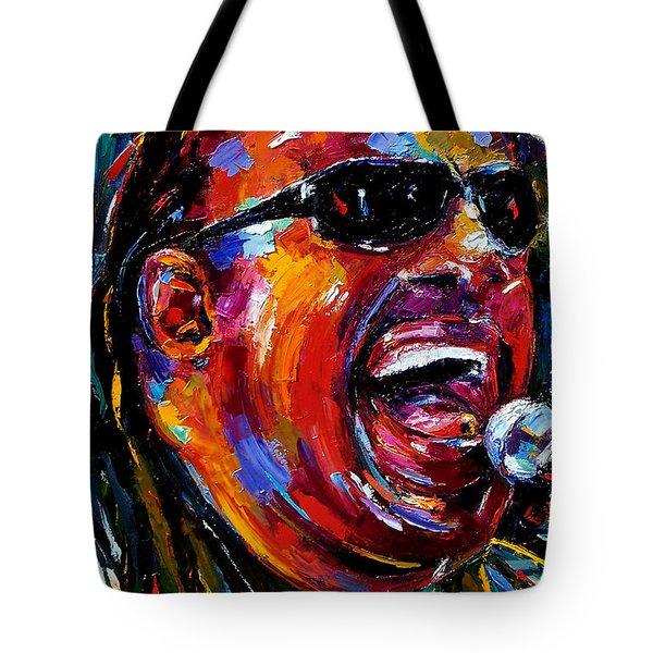 Stevie Wonder Tote Bag by Debra Hurd