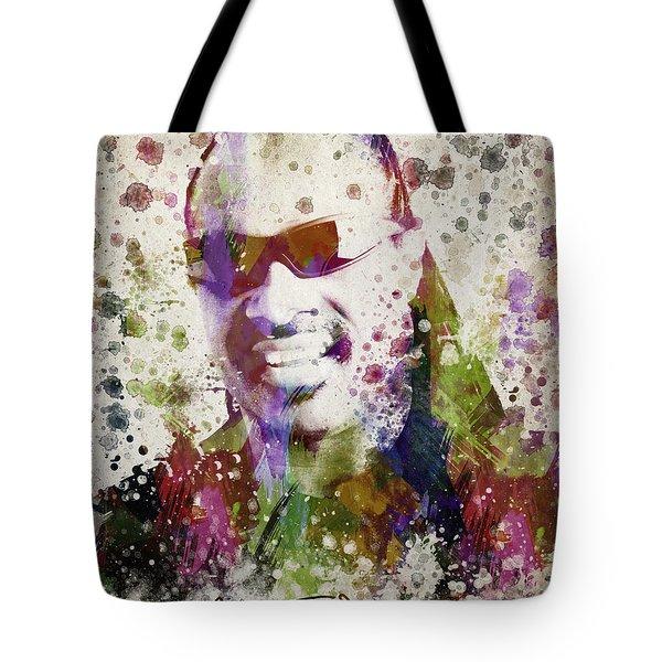 Stevie Wonder Portrait Tote Bag by Aged Pixel