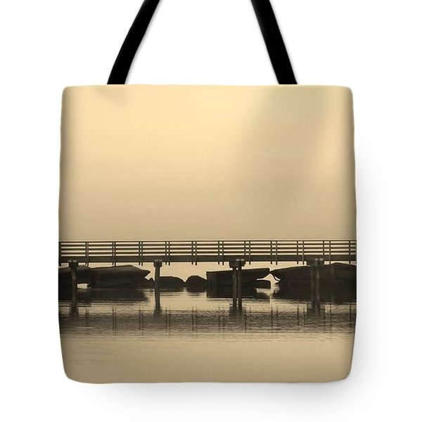 Tote Bag featuring the photograph Still Lake by Clare Bevan