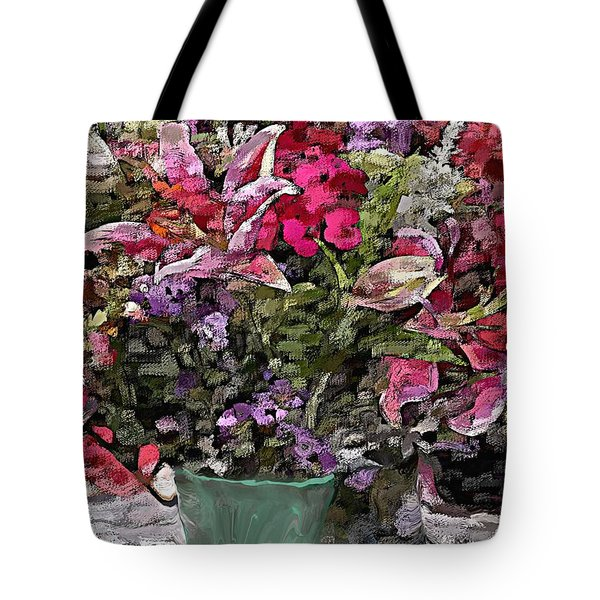 Tote Bag featuring the digital art Still Life Floral by David Lane