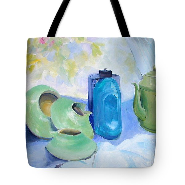 Tote Bag featuring the painting Still Life In Blue And Green Pottery by Greta Corens