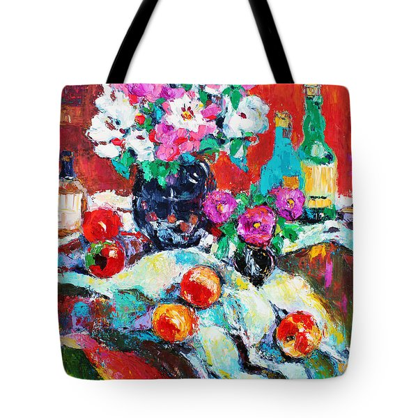 Still Life In Studio With Blue Bottle Tote Bag by Becky Kim