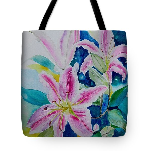 Tote Bag featuring the painting Still Life Lilies by Geeta Biswas