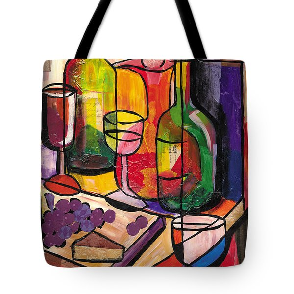 Still Life Of Fruit Wine And Cheese Tote Bag