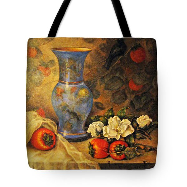 Still Life Of Persimmons  Tote Bag by Donna Tucker