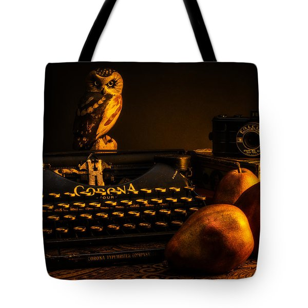Still Life - Pears And Typewriter Tote Bag by Jon Woodhams