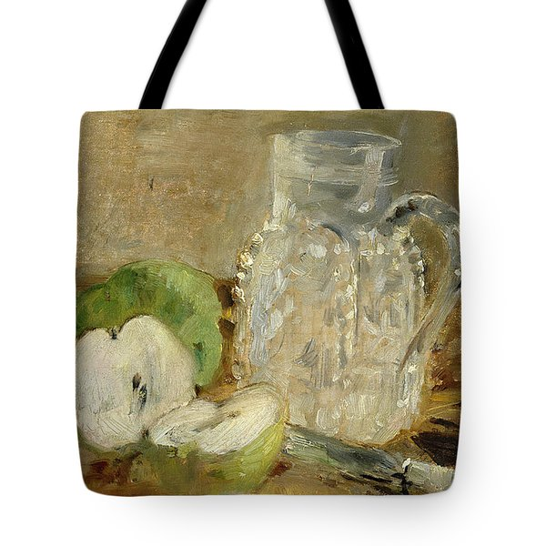 Still Life With A Cut Apple And A Pitcher Tote Bag by Berthe Morisot