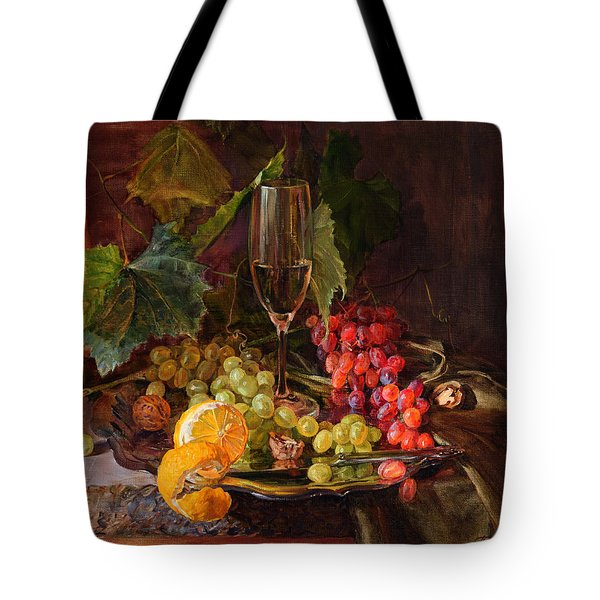Still-life With A Glass Of Wine And Grapes Tote Bag
