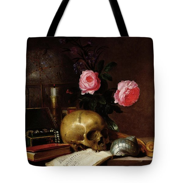 Still Life With A Skull Oil On Canvas Tote Bag
