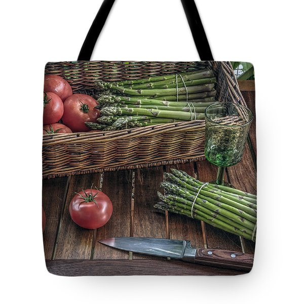 Tote Bag featuring the photograph Still Life With Asparagus And Tomatoes by Julis Simo