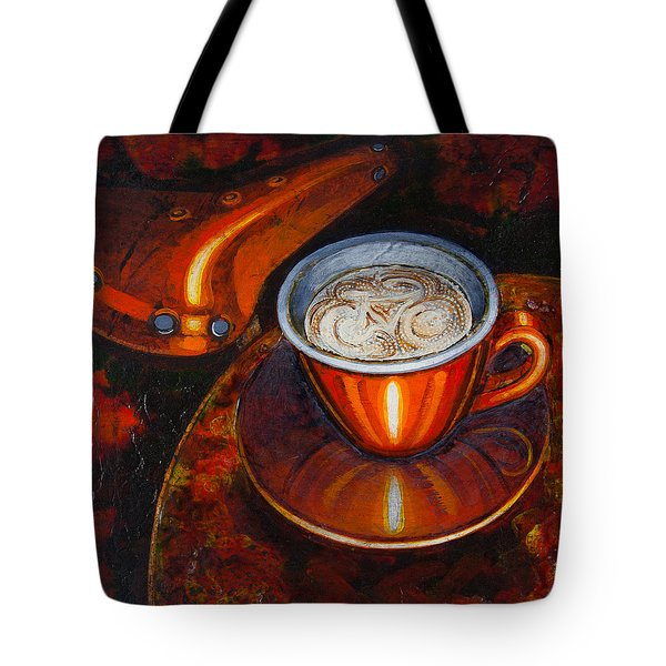 Tote Bag featuring the painting Still Life With Bicycle Saddle by Mark Howard Jones