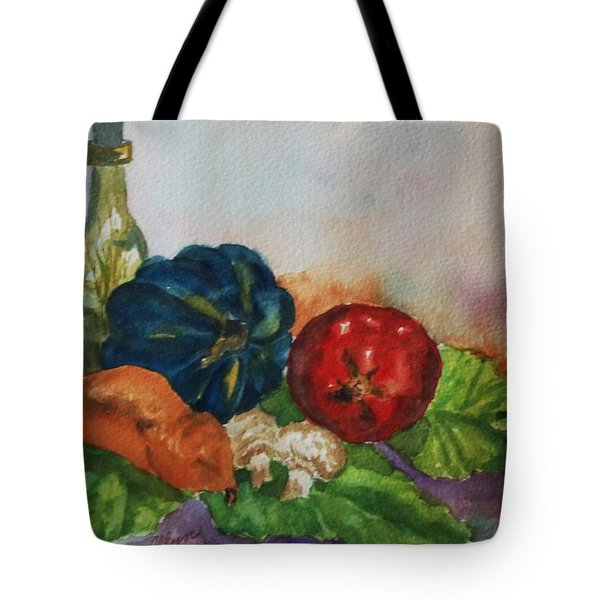 Tote Bag featuring the painting Still Life With Bottle by Ellen Levinson