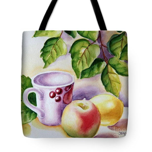 Still Life With Cup And Fruits Tote Bag by Inese Poga
