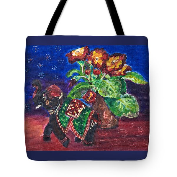Still Life With Elephant Figure And Prrimulas Tote Bag
