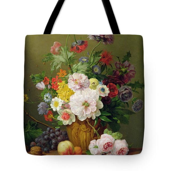 Still Life With Flowers And Fruit Tote Bag by Anthony Obermann