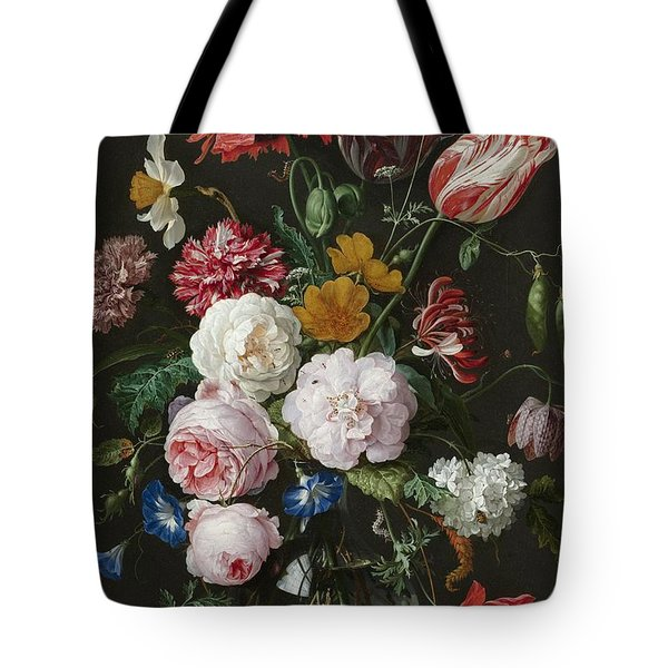 Still Life With Flowers In Glass Vase Tote Bag