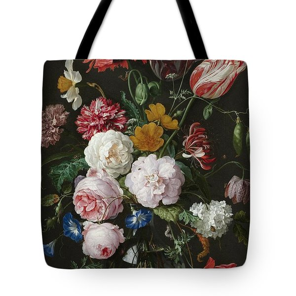 Still Life With Fowers In Glass Vase Tote Bag