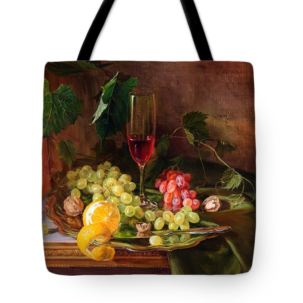 Still Life With Grapes And Grapevine Tote Bag