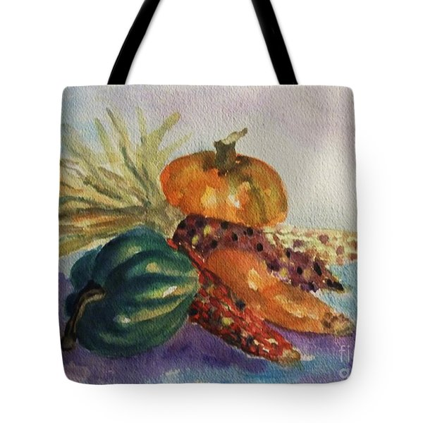 Tote Bag featuring the painting Still Life With Indian Corn by Ellen Levinson