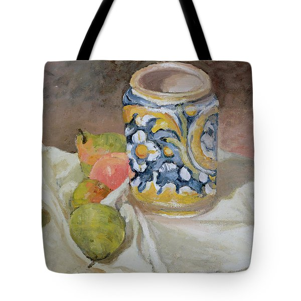 Still Life With Italian Earthenware Jar Tote Bag by Paul Cezanne