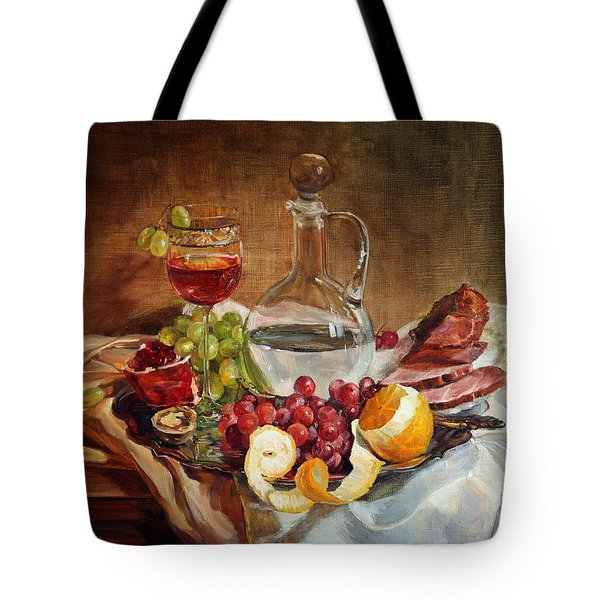 Still Life With Meat And Wine Tote Bag