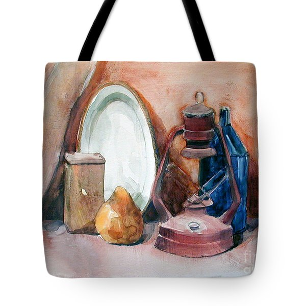 Watercolor Still Life With Rustic, Old Miners Lamp Tote Bag