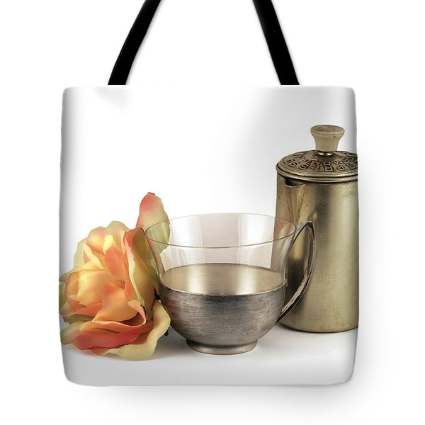 Still Life With Old Cup Rose And Coffe Pot Tote Bag