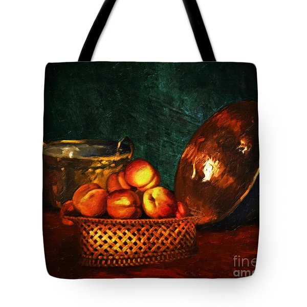 Tote Bag featuring the digital art Still Life With Peaches And Copper Bowl by Lianne Schneider