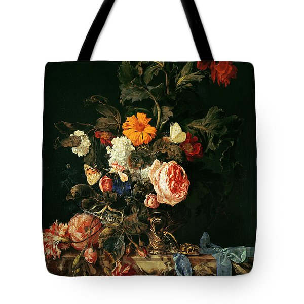 Still Life With Poppies And Roses Tote Bag