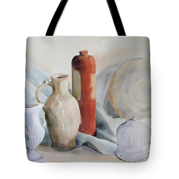 Watercolor Still Life With Pottery And Stone Tote Bag