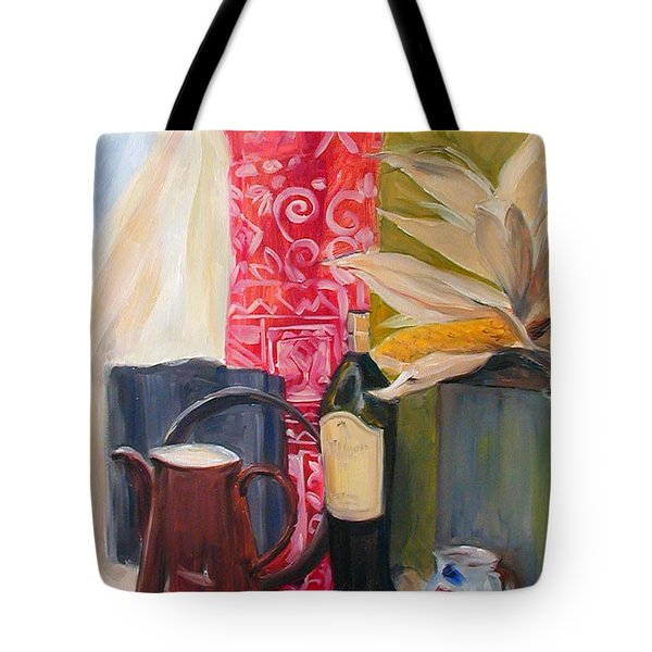 Tote Bag featuring the painting Still Life With Red Cloth And Pottery by Greta Corens