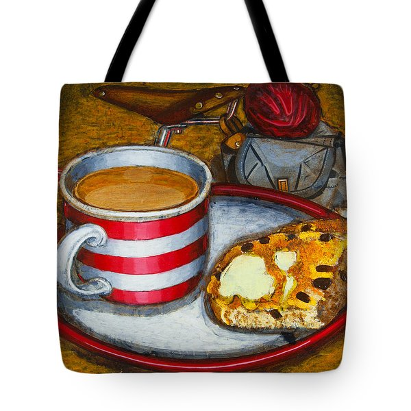 Tote Bag featuring the painting Still Life With Red Touring Bike by Mark Howard Jones