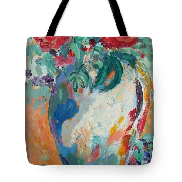 Tote Bag featuring the painting Still Life With Roses Partial View by Avonelle Kelsey