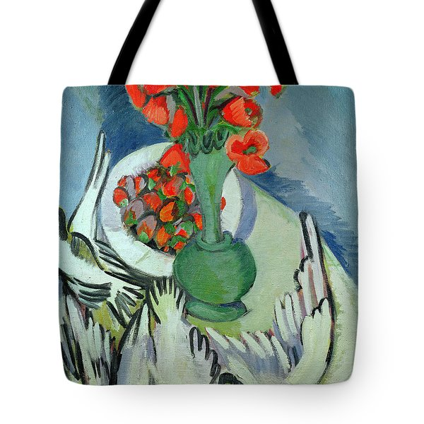 Still Life With Seagulls Poppies And Strawberries Tote Bag by Ernst Ludwig Kirchner
