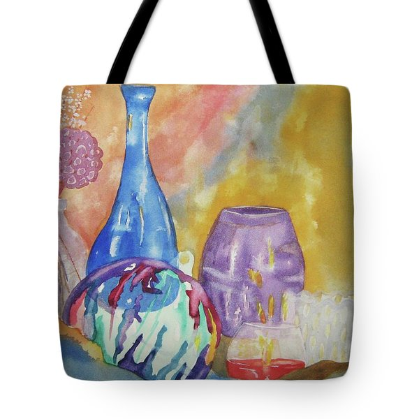 Tote Bag featuring the painting Still Life With Witching Ball by Ellen Levinson