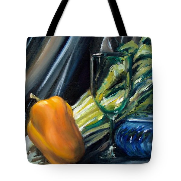 Still Life With Yellow Pepper Bok Choy Glass And Dish Tote Bag by Donna Tuten