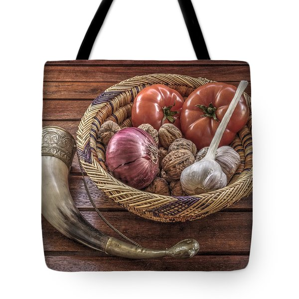 Tote Bag featuring the photograph Still Life With A Georgian Horn by Julis Simo