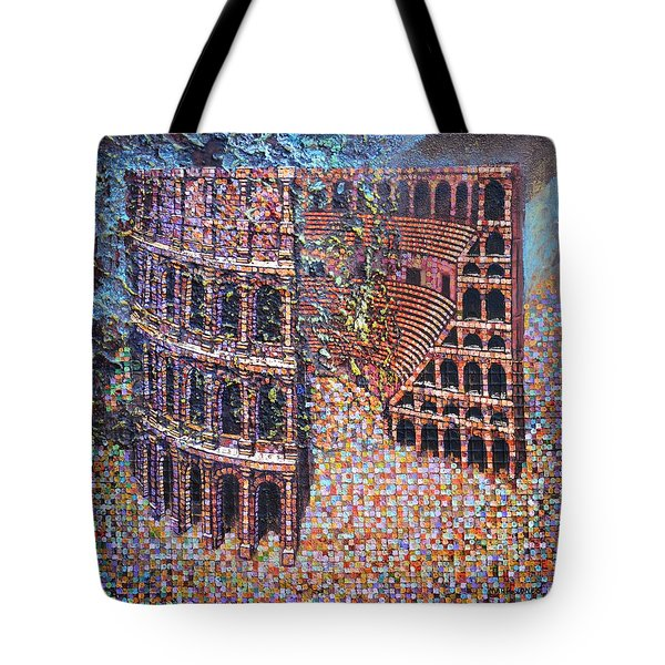 Tote Bag featuring the painting Still Stadium by Mark Howard Jones