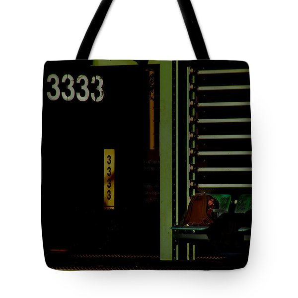 Still Waiting At 3333 Tote Bag