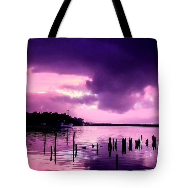 Tote Bag featuring the photograph Still Water Dusk by Wallaroo Images