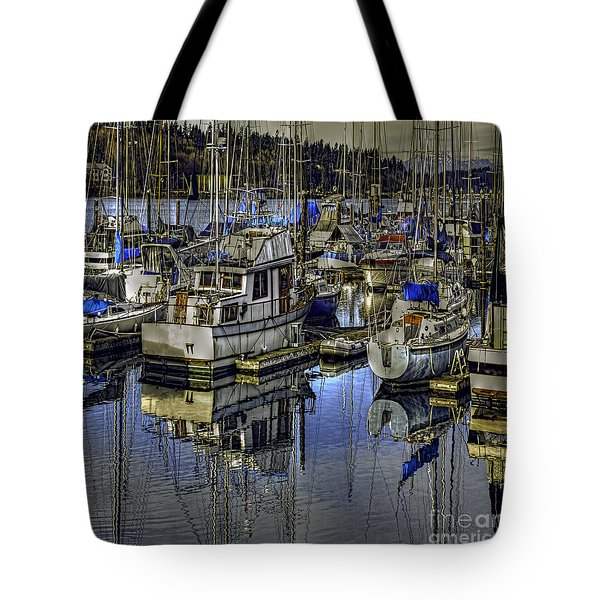 Tote Bag featuring the photograph Still Water Masts by Jean OKeeffe Macro Abundance Art