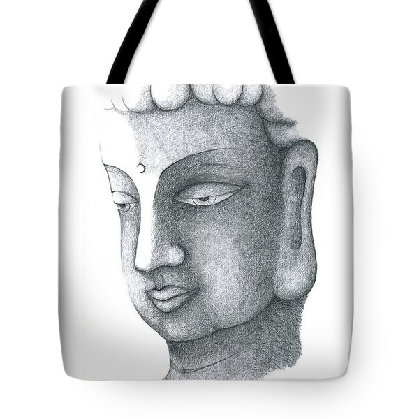 Tote Bag featuring the drawing Stillness by Keiko Katsuta