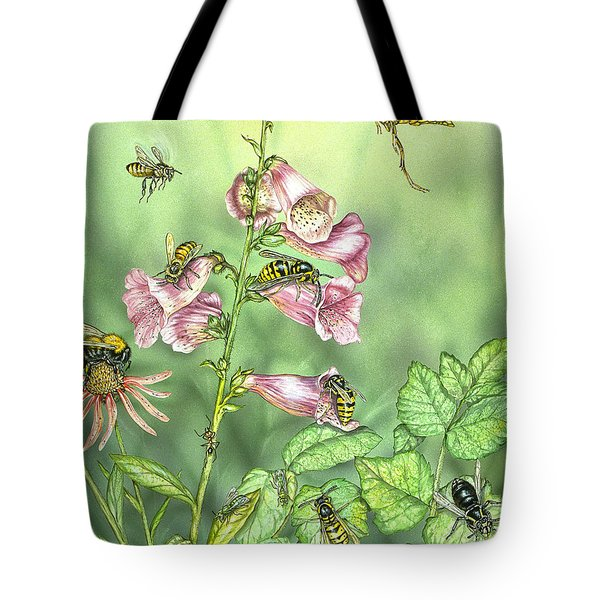 Stinging Insects In Garden Scene Tote Bag