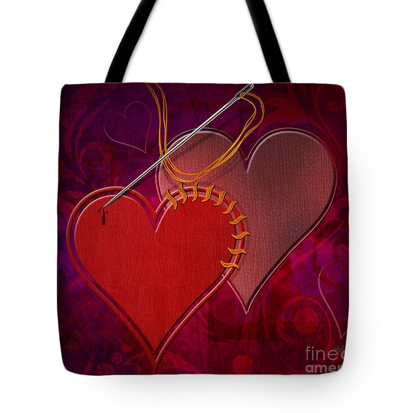 Stitched Hearts Tote Bag by Bedros Awak