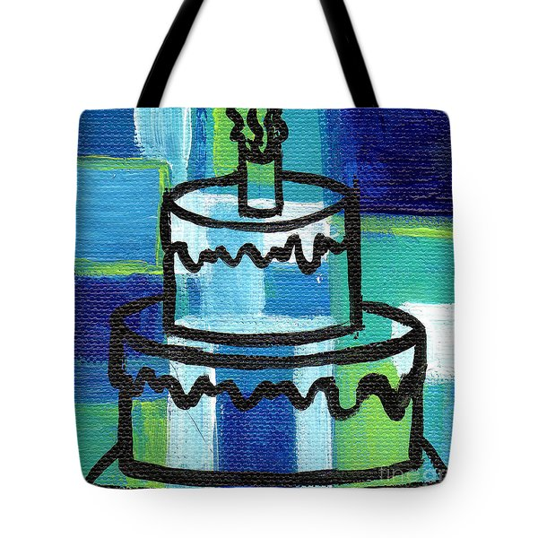Stl250 Birthday Cake Blue And Green Small Abstract Tote Bag